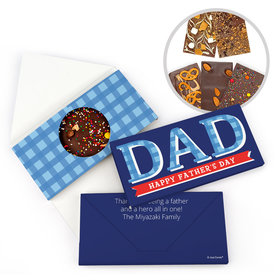 Personalized Bonnie Marcus Father's Day Plaid Gourmet Infused Belgian Chocolate Bars (3.5oz)