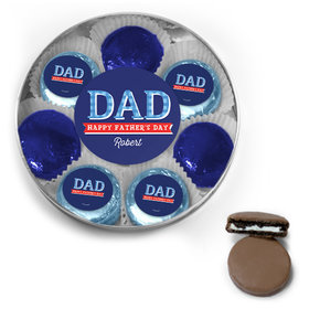 Personalized Bonnie Marcus Collection Father's Day Chocolate Covered Oreo Cookies Large Silver Plastic Tin