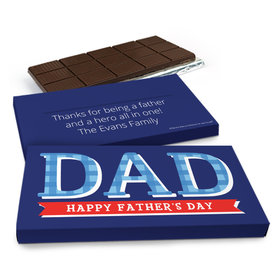 Deluxe Personalized Father's Day Plaid Chocolate Bar in Gift Box (3oz Bar)