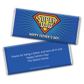 Personalized Bonnie Marcus Collection Father's Day Super Dad Chocolate Bar Wrappers