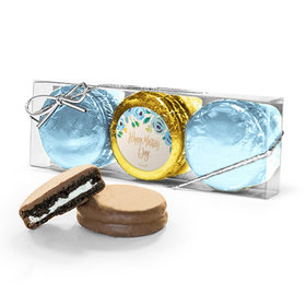 Bonnie Marcus Collection Mother's Day Blue Flowers 3PK Chocolate Covered Oreo Cookies