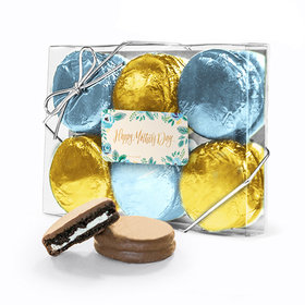 Bonnie Marcus Collection Mother's Day Blue Flowers 6PK Chocolate Covered Oreo Cookies