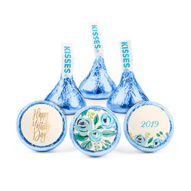Personalized Bonnie Marcus Mother's Day Blue Flowers Hershey's Kisses (50 pack)