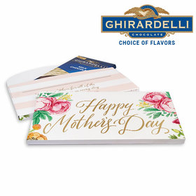 Deluxe Personalized Mother's Day Pink Flowers Ghirardelli Chocolate Bar in Gift Box