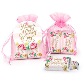 Personalized Mother's Day Pink Flowers Hershey's Miniatures in Organza Bags with Gift Tag