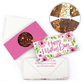 Personalized Bonnie Marcus Mother's Day Pink Flowers Gourmet Infused Belgian Chocolate Bars (3.5oz)
