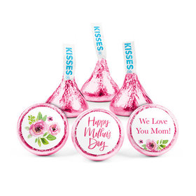 Personalized Bonnie Marcus Mother's Day Pink Floral Hershey's Kisses (50 pack)