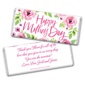 Personalized Bonnie Marcus Mother's Day Pink Floral Chocolate Bar & Wrapper