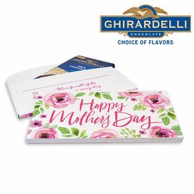 Deluxe Personalized Mother's Day Pink Floral Ghirardelli Chocolate Bar in Gift Box