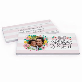 Deluxe Personalized Mother's Day Floral Photo Chocolate Bar in Gift Box