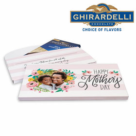Deluxe Personalized Mother's Day Floral Photo Ghirardelli Chocolate Bar in Gift Box