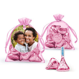 Personalized Mother's Day Photo Hershey's Kisses in Organza Bags with Gift Tag