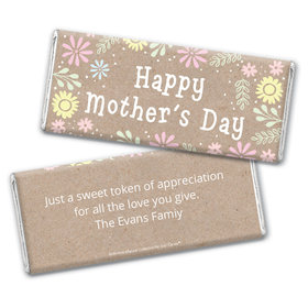 Personalized Bonnie Marcus Collection Mother's Day Pastel Flowers Chocolate Bar & Wrapper