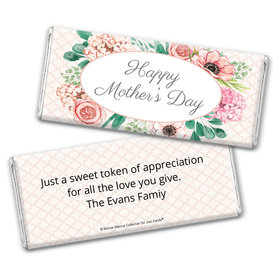 Personalized Bonnie Marcus Collection Mother's Day Painted Flowers Chocolate Bar Wrappers