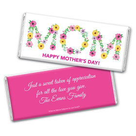 Personalized Bonnie Marcus Mother's Day Mom in Flowers Chocolate Bar & Wrapper