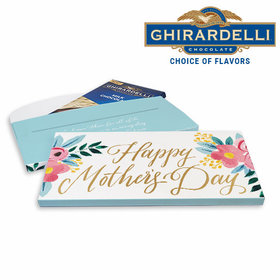 Deluxe Personalized Mother's Day Floral Ghirardelli Chocolate Bar in Gift Box