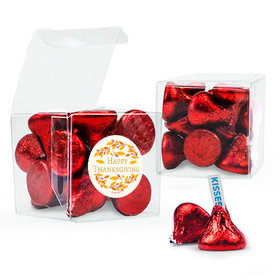 Thanksgiving Giving Thanks Hershey's Kisses Clear Gift Box with Sticker