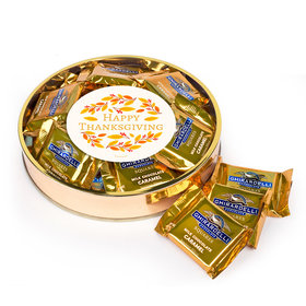 Personalzied Thanksgiving Large Plastic Tin with Ghirardelli Milk Chocolate Caramel Squares