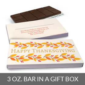 Deluxe Personalized Thanksgiving Bonnie Marcus Giving Thanks Chocolate Bar in Gift Box (3oz Bar)