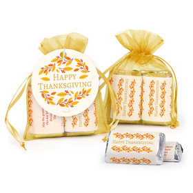 Personalized Thanksgiving Giving Thanks Hershey's Miniatures in Organza Bags with Gift Tag