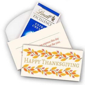 Deluxe Personalized Thanksgiving Giving Thanks Lindt Chocolate Bar in Gift Box (3.5oz)
