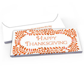Deluxe Personalized Thanksgiving Bonnie Marcus Fall Leaves Candy Bar Favor Box