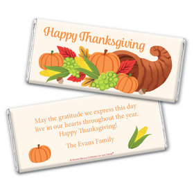 Personalized Bonnie Marcus Thanksgiving Cornucopia Chocolate Bar Wrappers Only