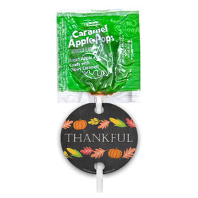 Thanksgiving Thankful Chalkboard Caramel Apple Pops with Gift Tags (48 pops)
