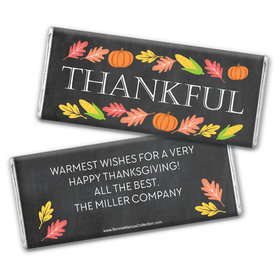 Personalized Bonnie Marcus Thanksgiving Thankful Chalkboard Chocolate Bar Wrappers