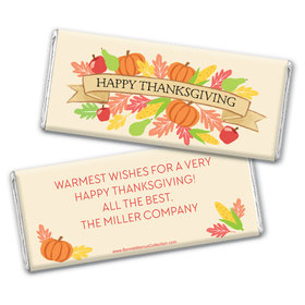 Personalized Bonnie Marcus Thanksgiving Happy Harvest Chocolate Bar Wrappers