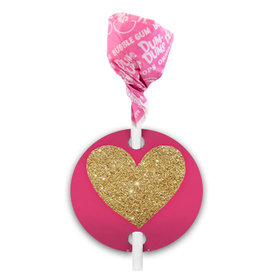 Personalized Valentine's Day Pink Glitter Heart Dum Dums with Gift Tag (75 pops)