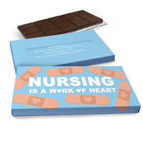 Deluxe Personalized Nurse Appreciation Work of Heart Belgian Chocolate Bar in Gift Box (3oz Bar)