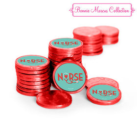 Nurse Appreciation Heart Stethoscope Chocolate Coins with Stickers (84 Pack)