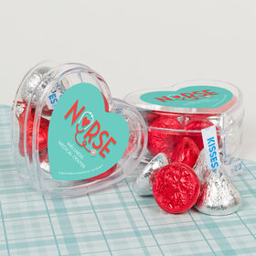 Personalized Nurse Appreciation Heart Stethoscope Assembled Acrylic Heart Container with Hershey's Kisses
