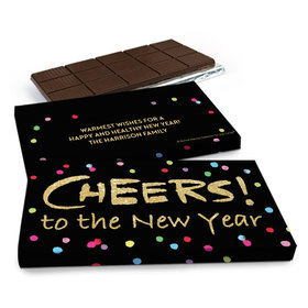 Deluxe Personalized New Year's Cheery Rainbow Dots Chocolate Bar in Gift Box (3oz Bar)