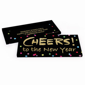 Deluxe Personalized New Year's Eve Cheery Rainbow Dots Chocolate Bar in Gift Box