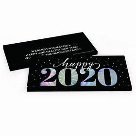 Deluxe Personalized New Year's Eve Royal Glitz Chocolate Bar in Metallic Gift Box