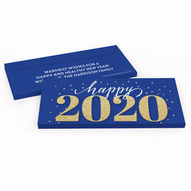 Deluxe Personalized New Year's Eve Royal Glitz Chocolate Bar in Gift Box