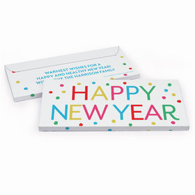 Deluxe Personalized New Year's Dazzling Dotz Candy Bar Favor Box