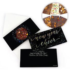Personalized New Year's Eve Cheer Metallic Gourmet Infused Chocolate Bars (3.5oz)