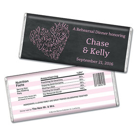 Bonnie Marcus Collection Personalized Chocolate Bar Chocolate and Wrapper Sweetheart Swirl Rehearsal Dinner