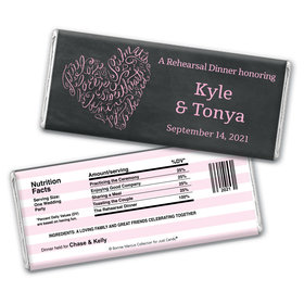 Bonnie Marcus Collection Personalized Chocolate Bar Wrappers Chocolate and Wrapper Sweetheart Swirl Rehearsal Dinner