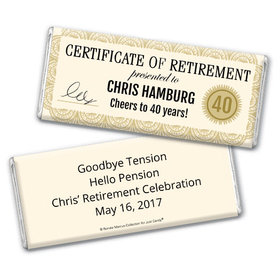 Personalized Bonnie Marcus Collection Retirement Certificate Chocolate Bar