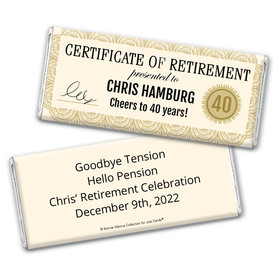 Personalized Bonnie Marcus Collection Retirement Certificate Chocolate Bar Wrapper Only