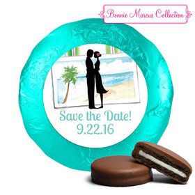 Bonnie Marcus Collection Save the Date Tropical I Do Milk Chocolate Covered Oreo Cookies Foil Wrapped (24 Pack)