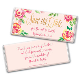 Bonnie Marcus Collection Personalized Chocolate Bar Wrappers Chocolate & Wrapper In the Pink Save the Date Favors by Bonnie Marcus