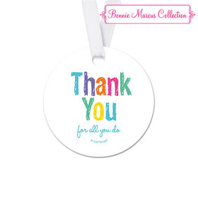 Bonnie Marcus Collection Round Colorful Thank You Teacher Appreciation Favor Gift Tags (20 Pack)