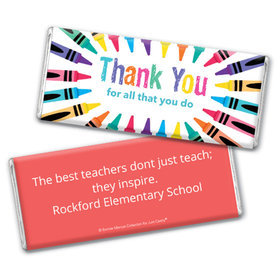 Personalized Teacher Appreciation Colorful Thank You Chocolate Bar Wrappers