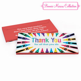 Deluxe Personalized Teacher Appreciation Colorful Thank You Chocolate Bar in Gift Box