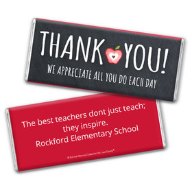 Personalized Teacher Appreciation Apple Chocolate Bar Wrappers
